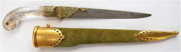 A FINE ROCK CRYSTAL-HILTED INDIAN DAGGER