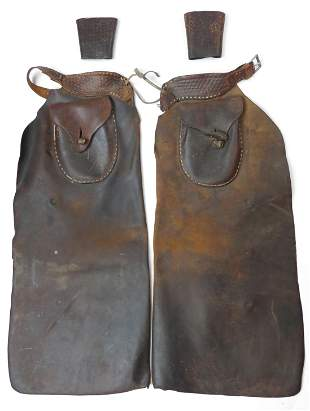 PROVENANCED AMERICAN WESTERN CHAPS AND WRIST GUARD