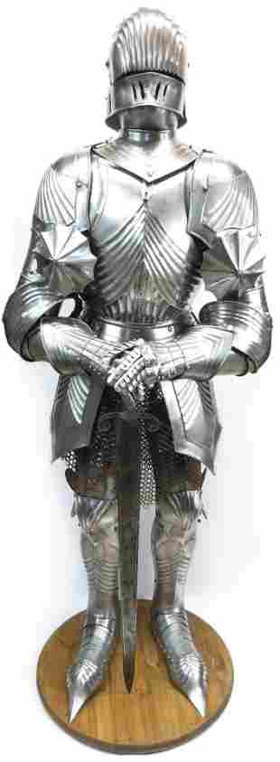 A FINE VICTORIAN-ERA GOTHIC SUIT OF ARMOR