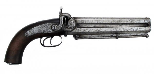 AN OTTOMAN DOUBLE-BARRELED PERCUSSION PISTOL