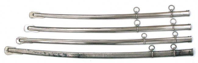 FOUR STEEL SCABBARDS
