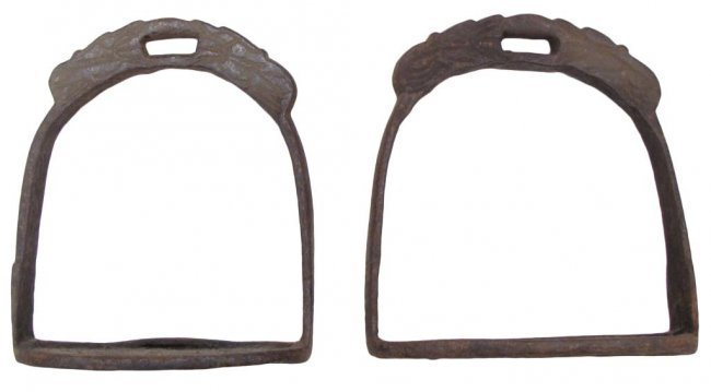 A PAIR OF CHINESE QING DYNASTY STIRRUPS - 4