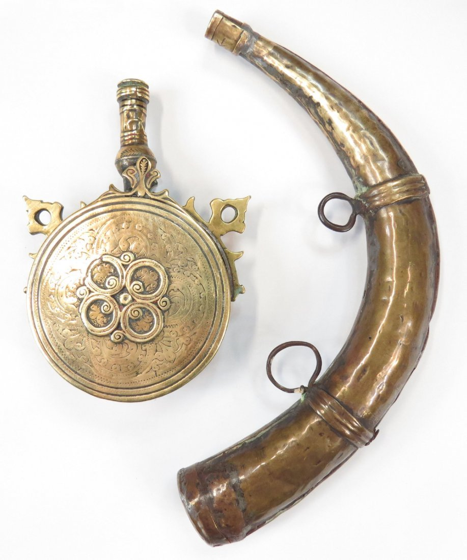 A MOROCCAN POWDER HORN AND FLASK - 2