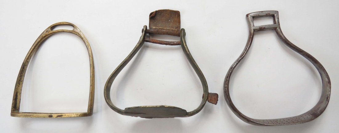 THREE CONTINENTAL MILITARY STIRRUPS - 3