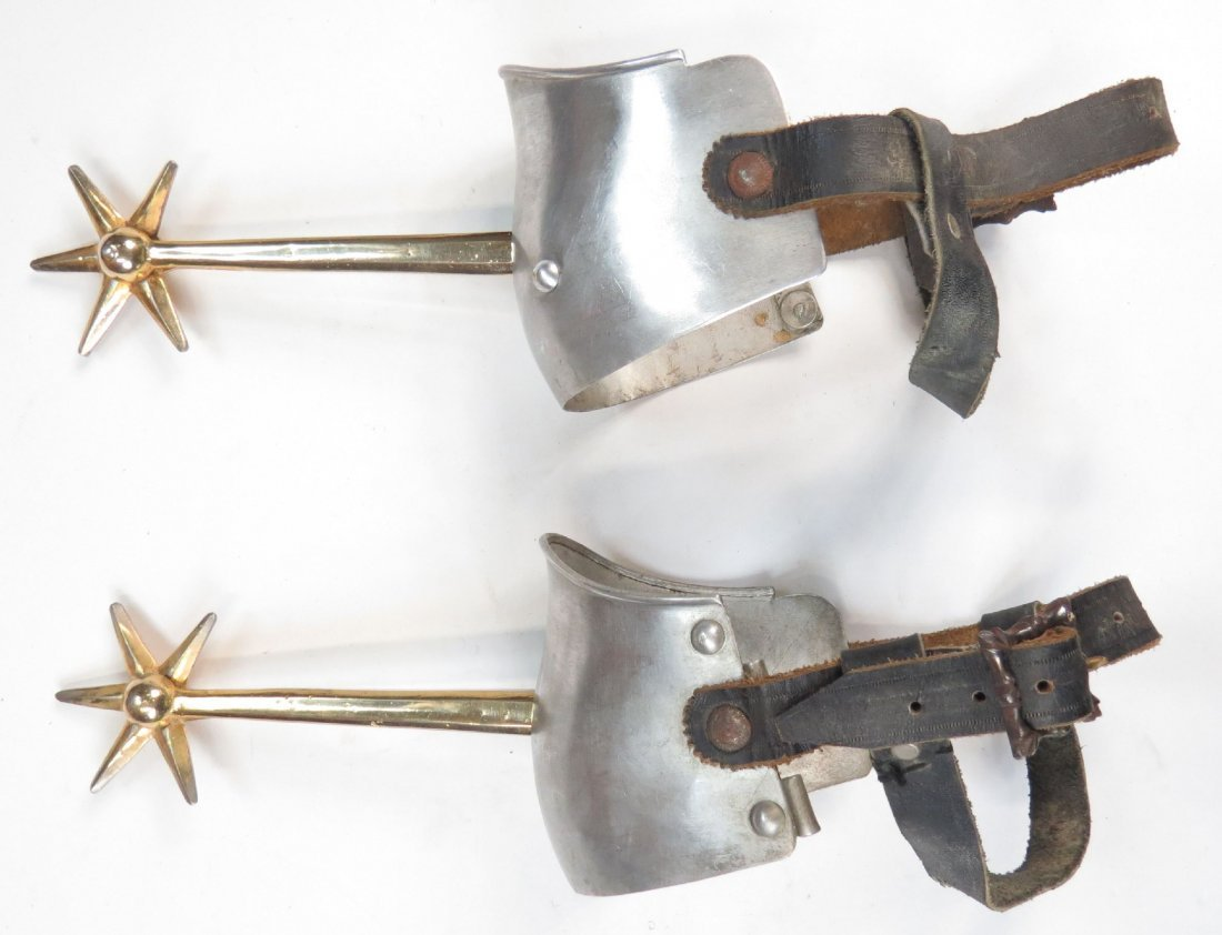 A PAIR OF VICTORIAN KNIGHTLY SPURS