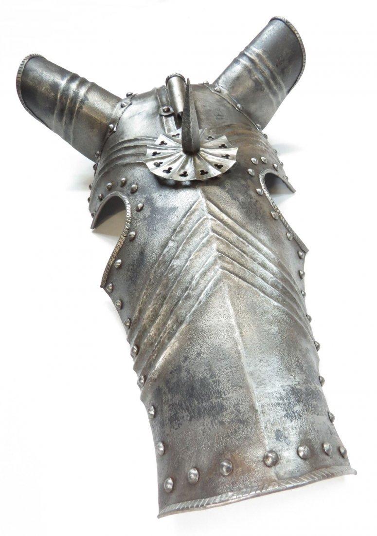 A VICTORIAN-ERA GOTHIC ARMOR CHANFRON - 2