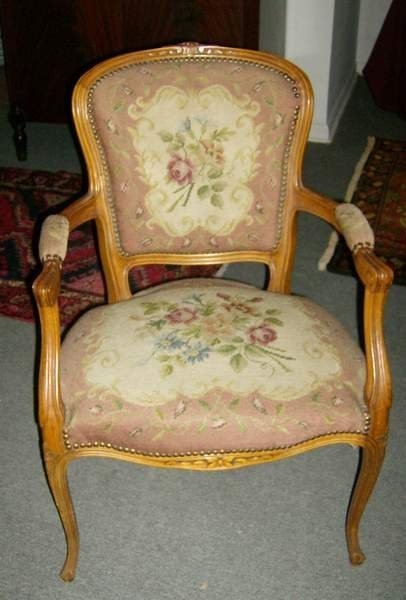 """8: Carved armchair with needlepoint seat & back, 34""""h,"""