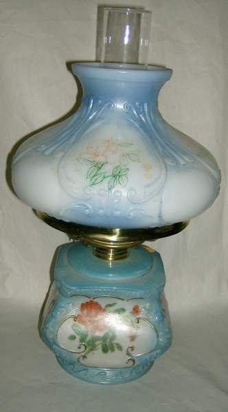 "9: Hand Painted Kerosene lamp with 1/2 shade, 17""h"