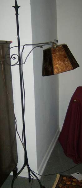 18: Iron floor lamp with mica shade