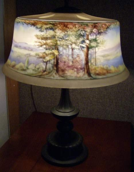"""19: Pairpoint Lamp 20""""h, shade and base both signed."""