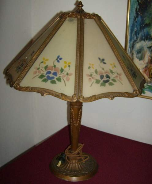 24: Stenciled Decorated Panel Lamp