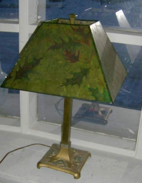 110: Hand painted Mica shade on signed Miller Base