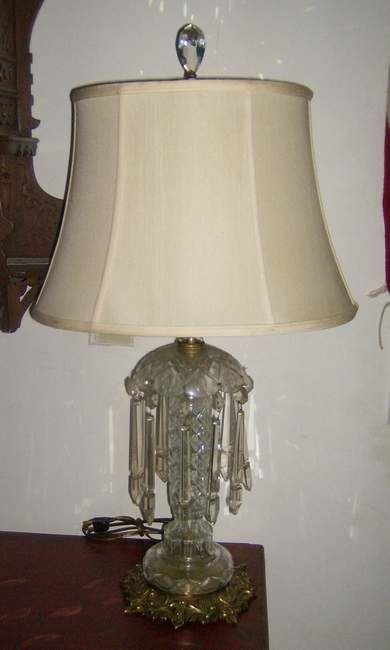 19A: Pair of crystal table lamps