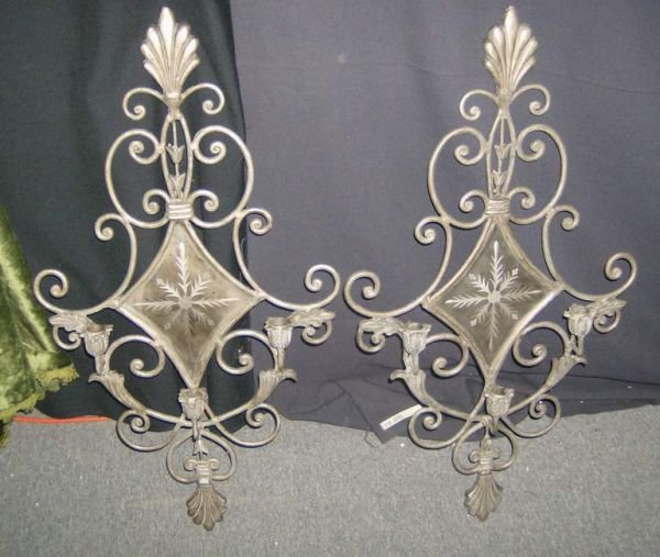 303: Pair of Mirrored sconces