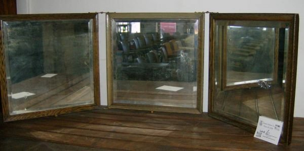 306: Oak framed beveled glass 3 part mirror