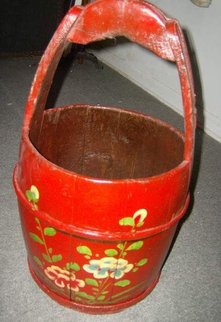 307: Paint decorated wooden handle bucket
