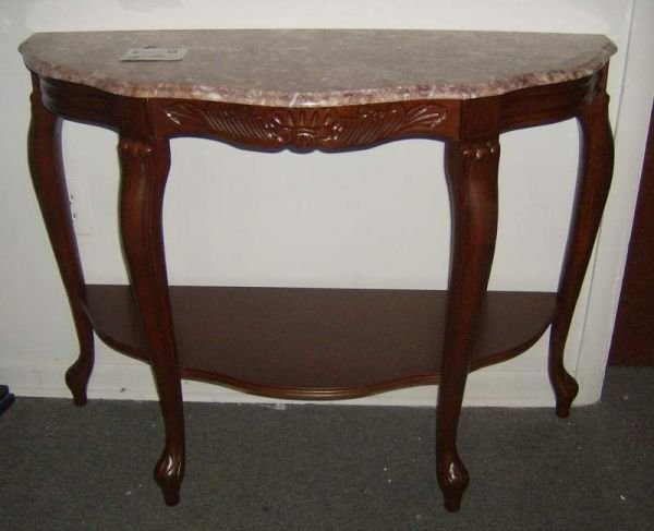 312: Marble top demilune table