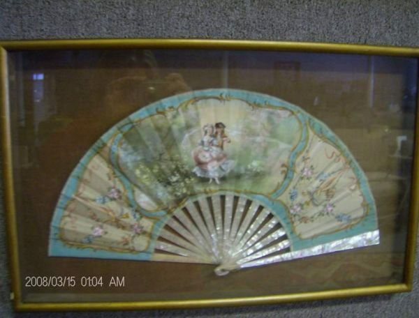314: Hand painted fan in shadow box frame