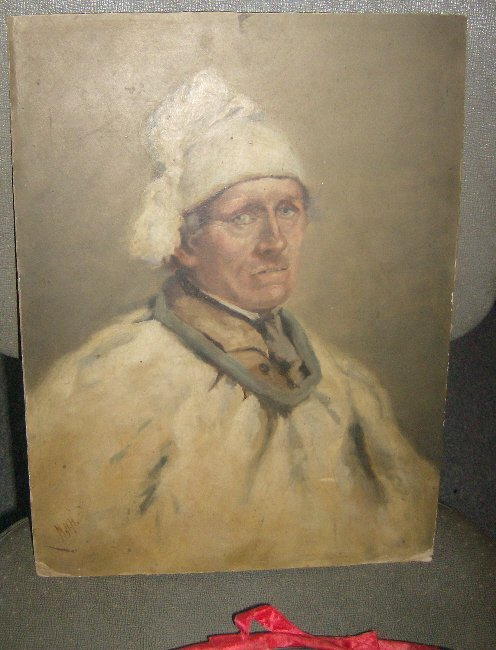 9: Oil on board Norwegian Peasant Man in Costume