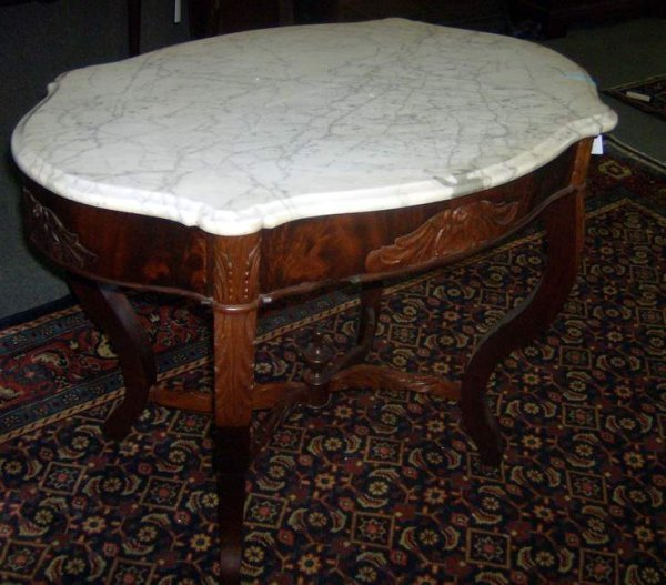 14: Walnut marble top table with turtle top