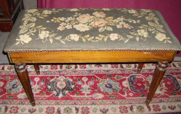 301: Piano Stool with needlepoint seat