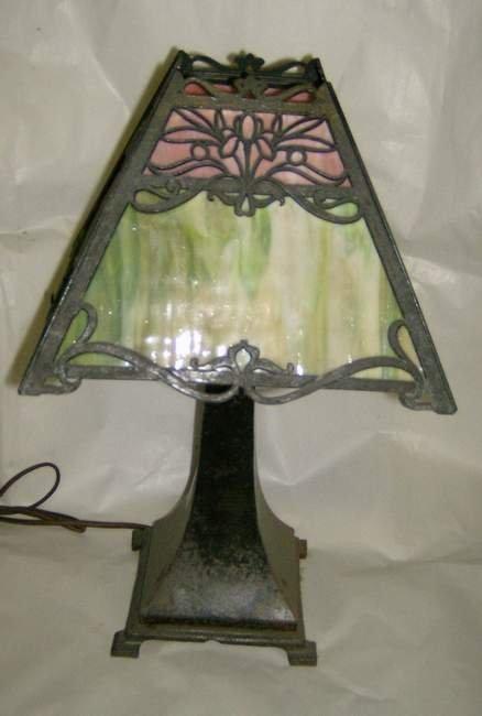 302: Slag glass lamp