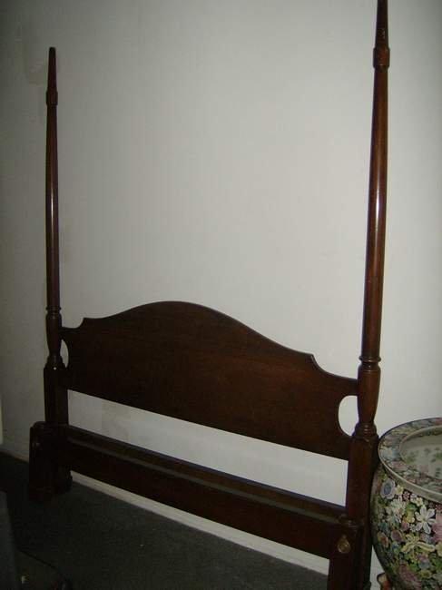 3: Mahogany tall post bed signed Kittinger