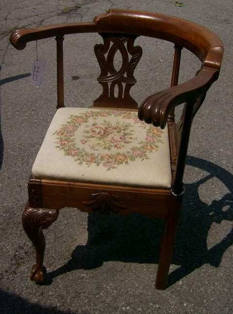 6: Carved roundabout chair with needlepoint seat
