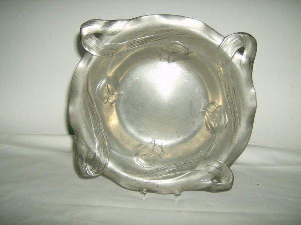 14: Kayserzinn Art Nouveau pewter dish, signed  raised