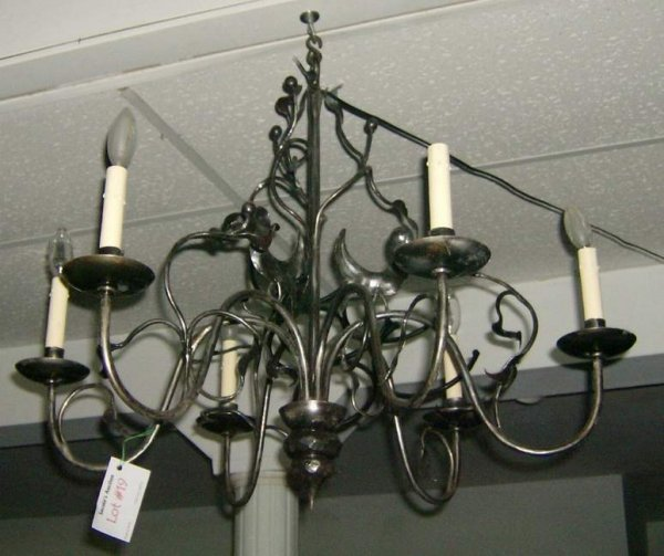 19: Hand wrought iron hanging fixture with birds
