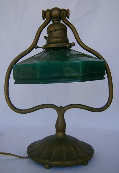 20: Tiffany Studios harp lamp base #419, signed & numbe