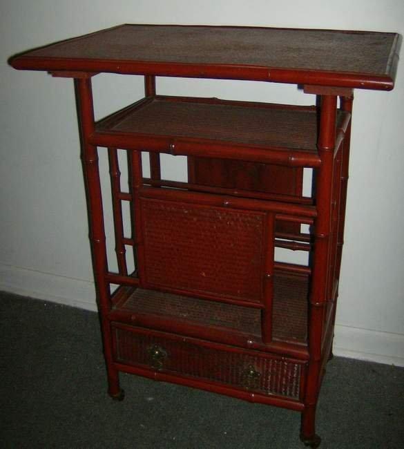 4: Oriental style bamboo 1 drawer magazine stand