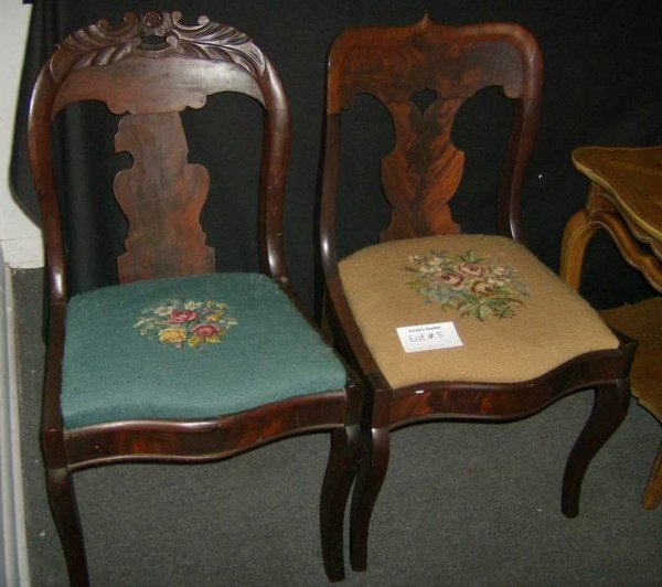 5: Two Victorian walnut chairs