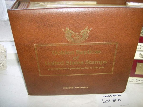 8: 2 Albums of US Stamps- Golden Replica of US Stamp