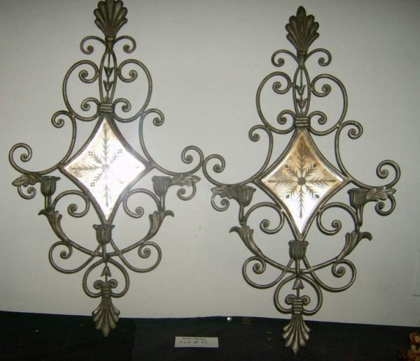 15: Pair of mirrored sconces