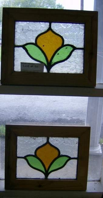 16: Two Antique English Art Nouveau floral stained glas