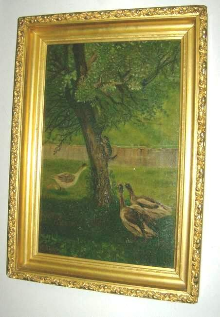 18: Oil on canvas Geese chasing a cat up a tree