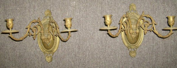 312: Pair of brass candle sconces