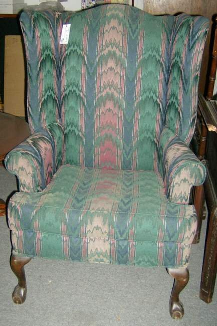 1: Wing back chair on ball & claw feet