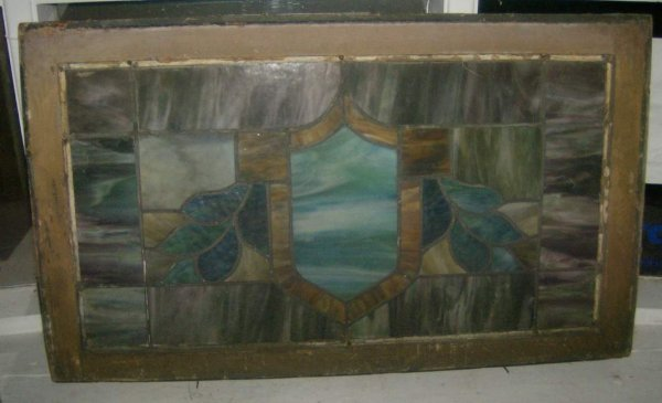 6: Antique leaded stained glass window
