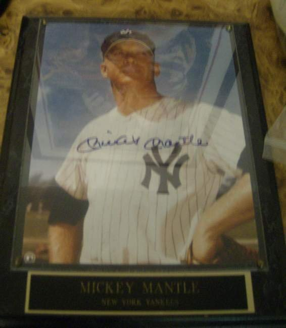 15: Mickey Mantle autographed plaque