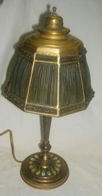 102: Tiffany Studios linen fold lamp # 22 on enamel bas