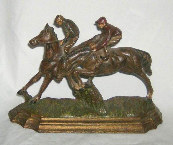 313: Steeple Chase Horses & Jockey cast iron doorstop