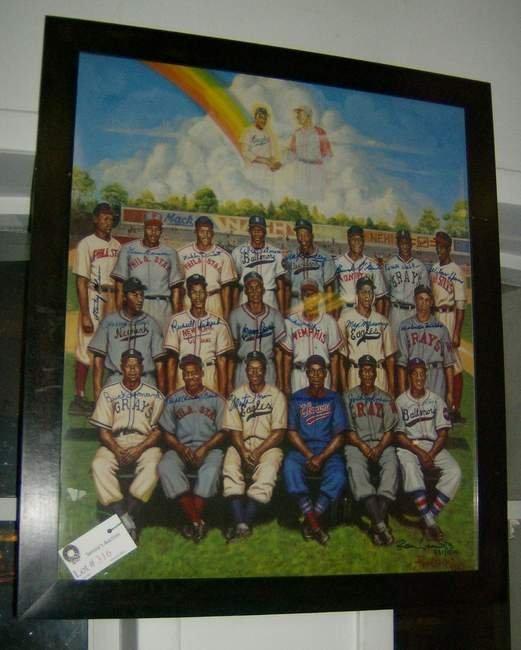 316: Framed Negro League Ron Lewis chromolithograph sig