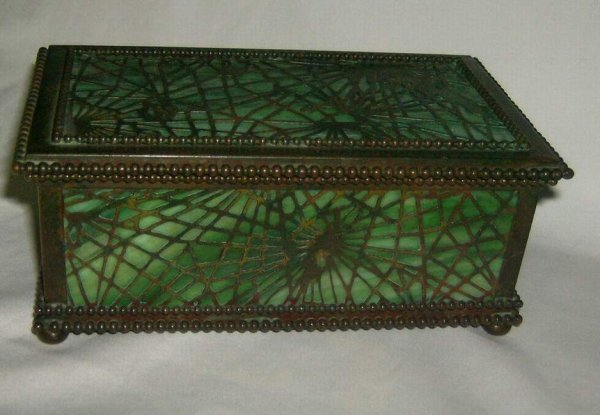 "320: Tiffany Studios pine needle box #815, 2 /4""h 4""w,"