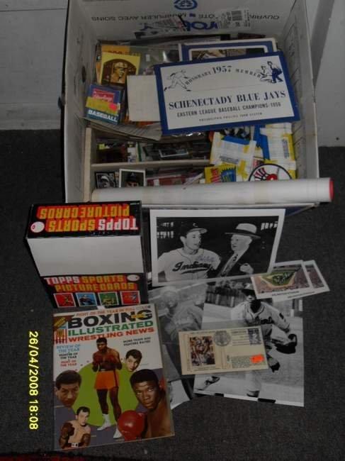 10: Sports Box Lot inc Cards, Autographs, etc