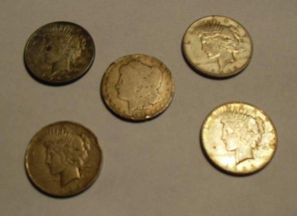 18: Five Silver Dollars 1901, 2- 1922, 2-1923,