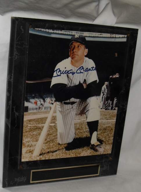 """8: Mickey Mantle autographed plaque, 13,""""h, 101/""""w"""