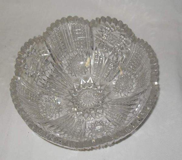 """7: Cut glass bowl, 8 1/4""""d, 3 1/3""""h"""
