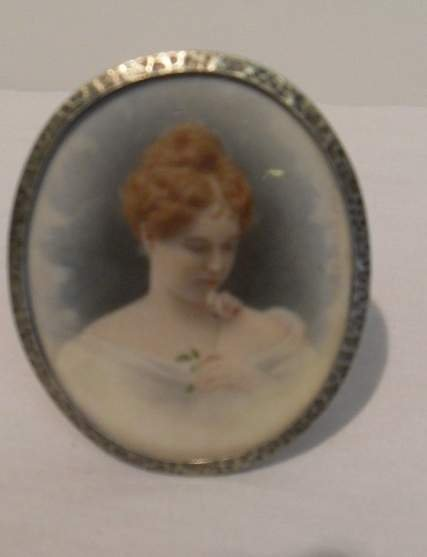 14: Miniature painting on ivory in silver frame